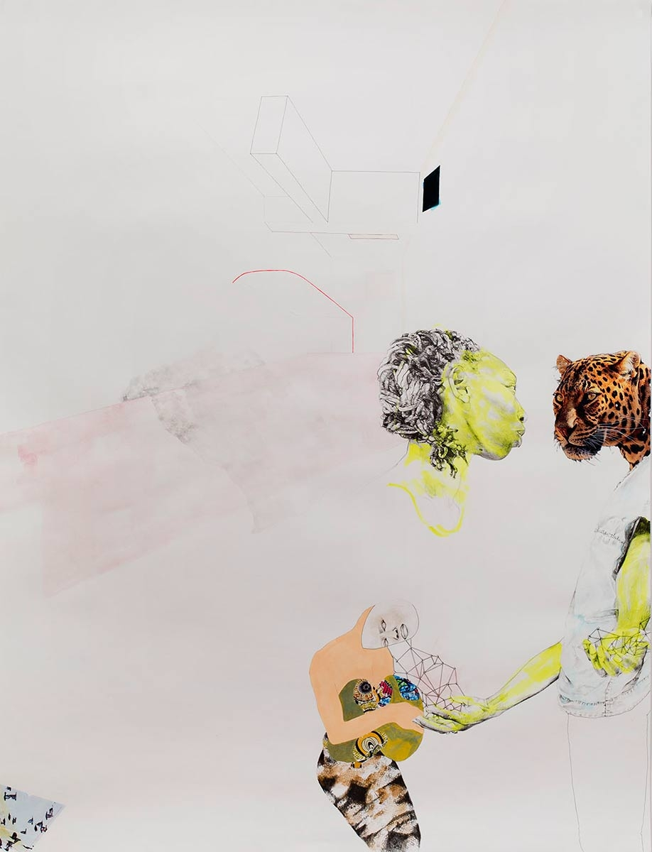 ruby onyinyechi amanze, The Gift [a room of our own], 2015. Graphite, ink, photo transfers, fluorescent acrylic, colored pencils, 50 x 38 inches. Courtesy of the artist.