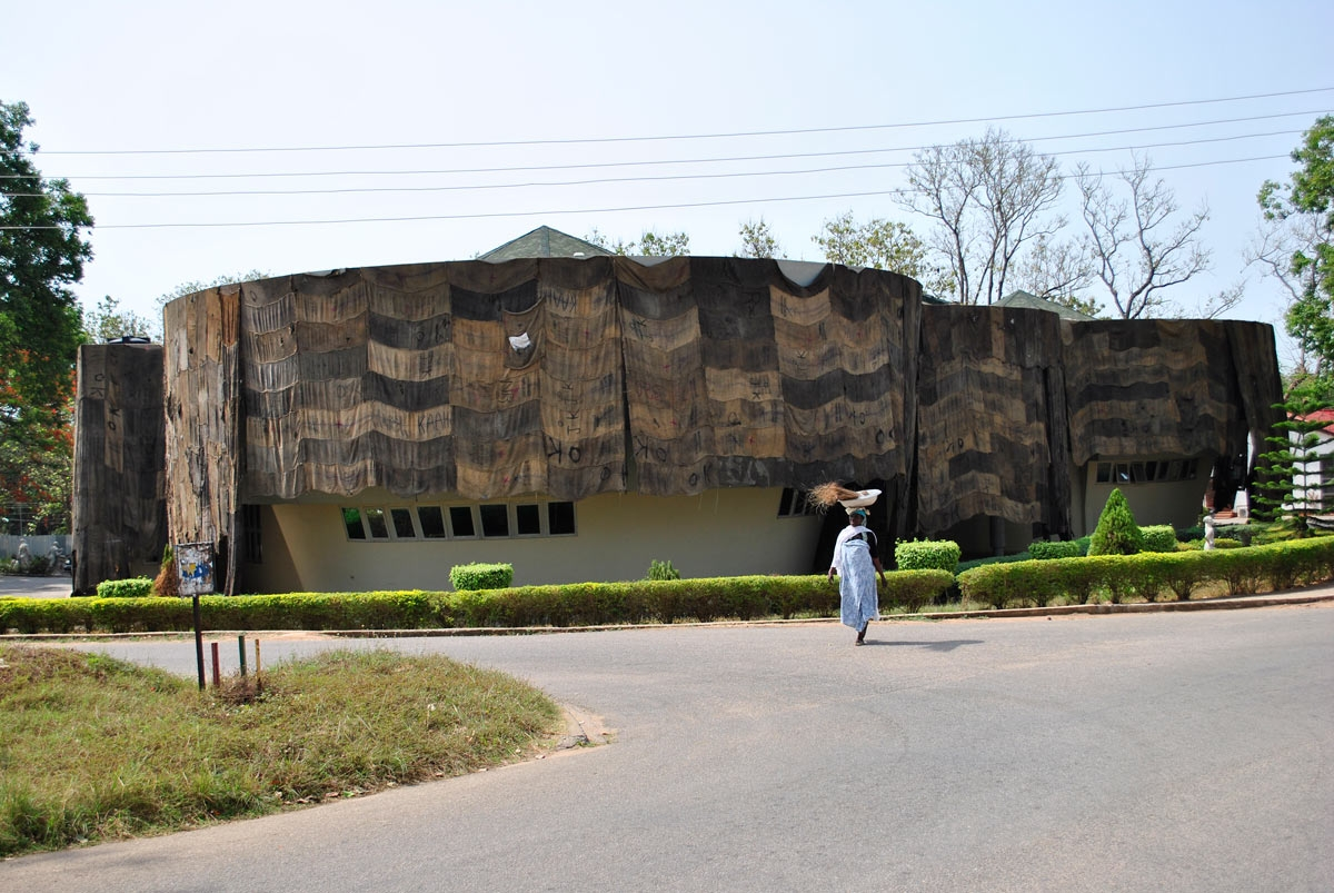 © Ibrahim Maehama. Installation image of KNUST museum covered with jute sacks created during ANO residency. Courtesy of the artist and ANO.