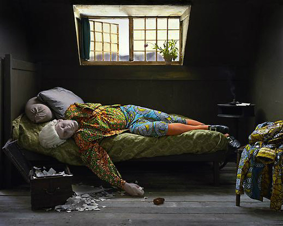 Yinka Shonibare MBE,  Fake Death Picture (The Death of Chatterton - Henry Wallis). Courtesy of James Cohan Gallery.