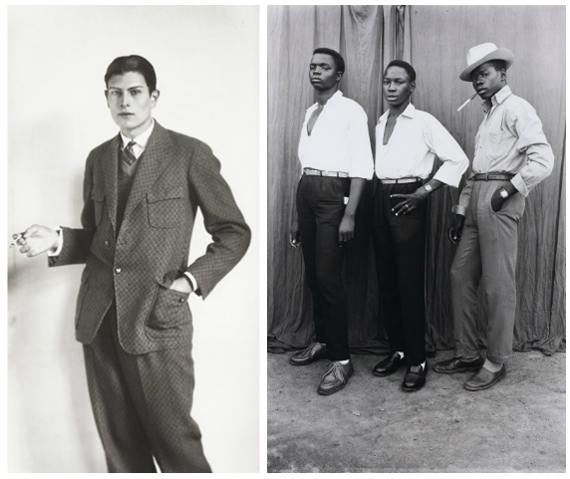 August Sander, High School Student, 1926 and  Seydou Keïta, Untitled, 1952-1955. Courtesy of The Walther Collection.