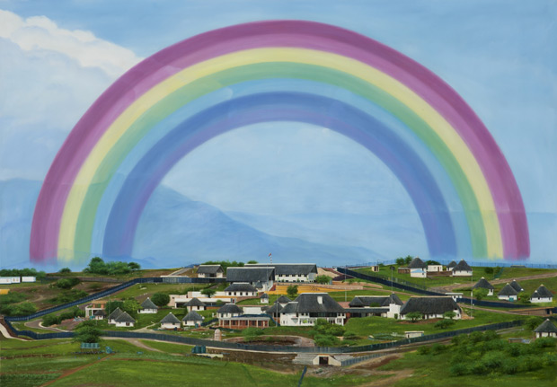 Brett MBrett Murray, Rainbow Over Nkandla, (From the Made in China series) 2012/2013. Courtesy of the artist and Stevenson Johannesburg | Cape Town.urray, Rainbow Over Nkandla. From the Made in China series 2012/2013. Courtesy of Stevenson Cape Town and Johannesburg.