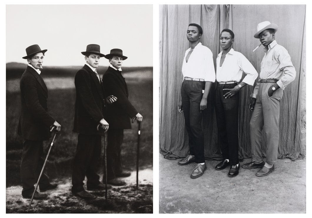 L | August Sander,  Jungbauern (Young Farmers), 1914. R | Seydou Keïta, Untitled, 1952-1955. Courtesy of the Walther Collection.