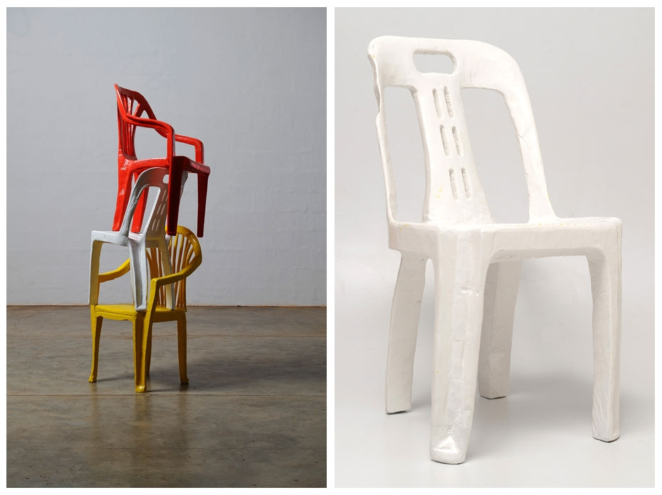Cameron Platter, L | Chairs / Arrangement 4, 2012. R | White Chair, 2009. Courtesy of the artist.