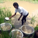 Georgie fetching water in Nakar, Burkina Faso before the well was drilled.