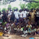 Georgie Badiel, Founder of Models 4 Water with the villagers of Nakar, Burkina Faso