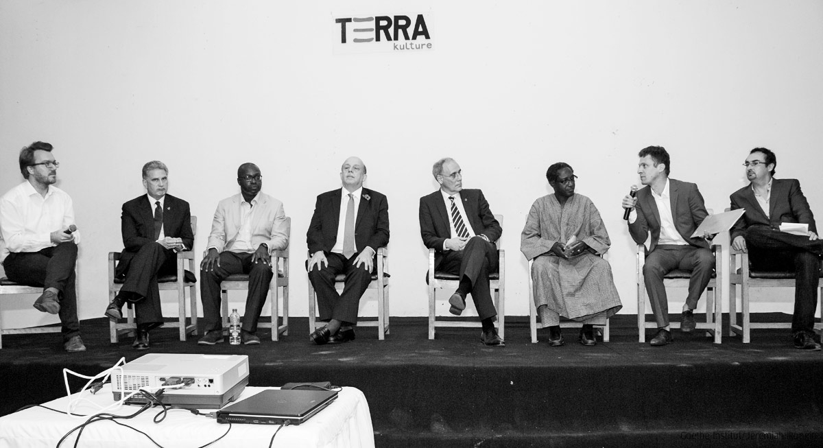 Left to Right | Director of the Goethe Institute, Marc-André Schmachtel (moderator), the High Commissioner of the British Council, the famous historian Edward Nigerian Emeka Keazor, the Consul General of France François Sastourné, the Consul General of Germany Michael Derus, Benin writer Marcus Boni Teiga, Dr. Jörg Theis and the French writer Pierre Cheruuau (moderator) during the debate about the WWI at Terra Kulture, Lagos.