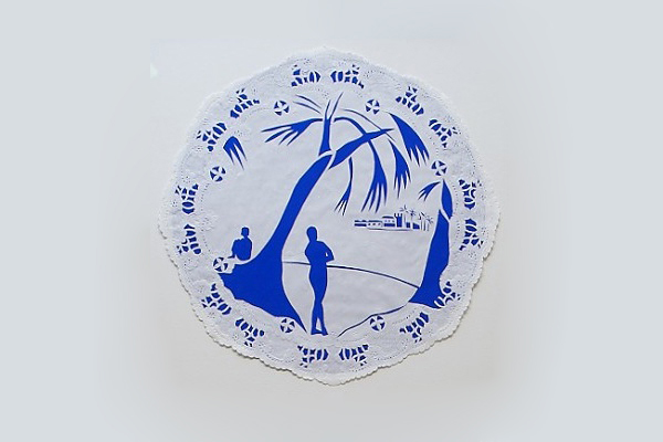 Mary Evans. Willow plates no. 2,  Cut paper 34 x 34 cm, 2012. Courtesy of Tiwani Contemporary.