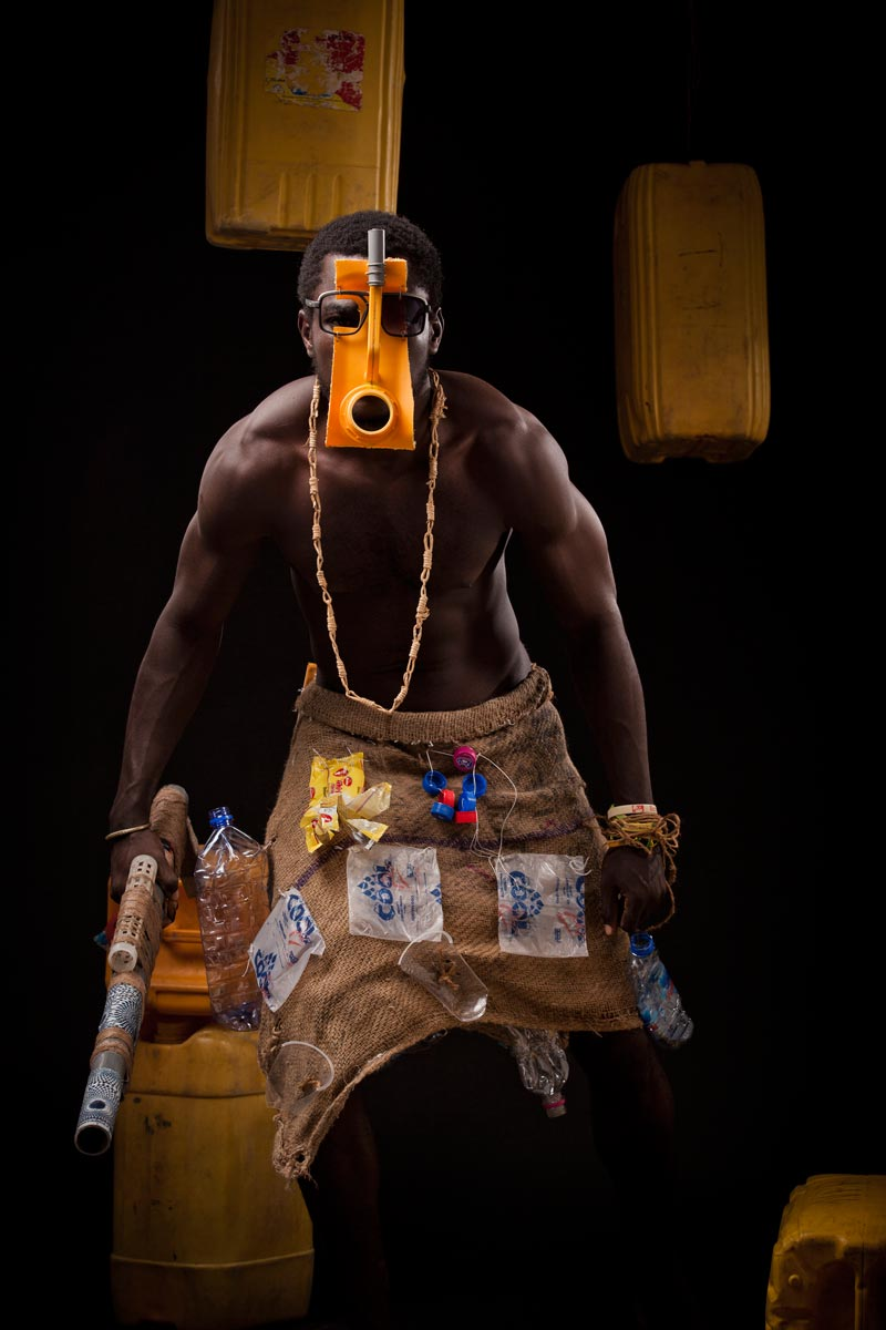 © Serge Attukwei Clottey. Water Warrior, 2013 . From the ongoing series Afrogallonism. Courtesy of the artist.