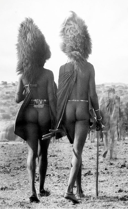 Maasai Warriors with lion's mane headresses, Loita Hills, Kenya, 1967.