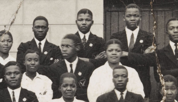 Nelson Mandela in a group photo taken in 1938 at Healdtown School (detail). From the Gilbert Nzimeni Collection. Courtesy of the Nelson Mandela Centre of Memory.