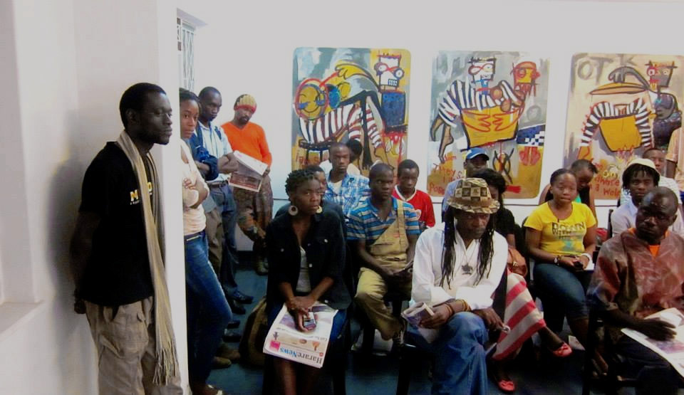 Artist Talk held at First Floor with Toni Crabb, Tapfuma Gutsa and Moffat Takadiwa, 2013.