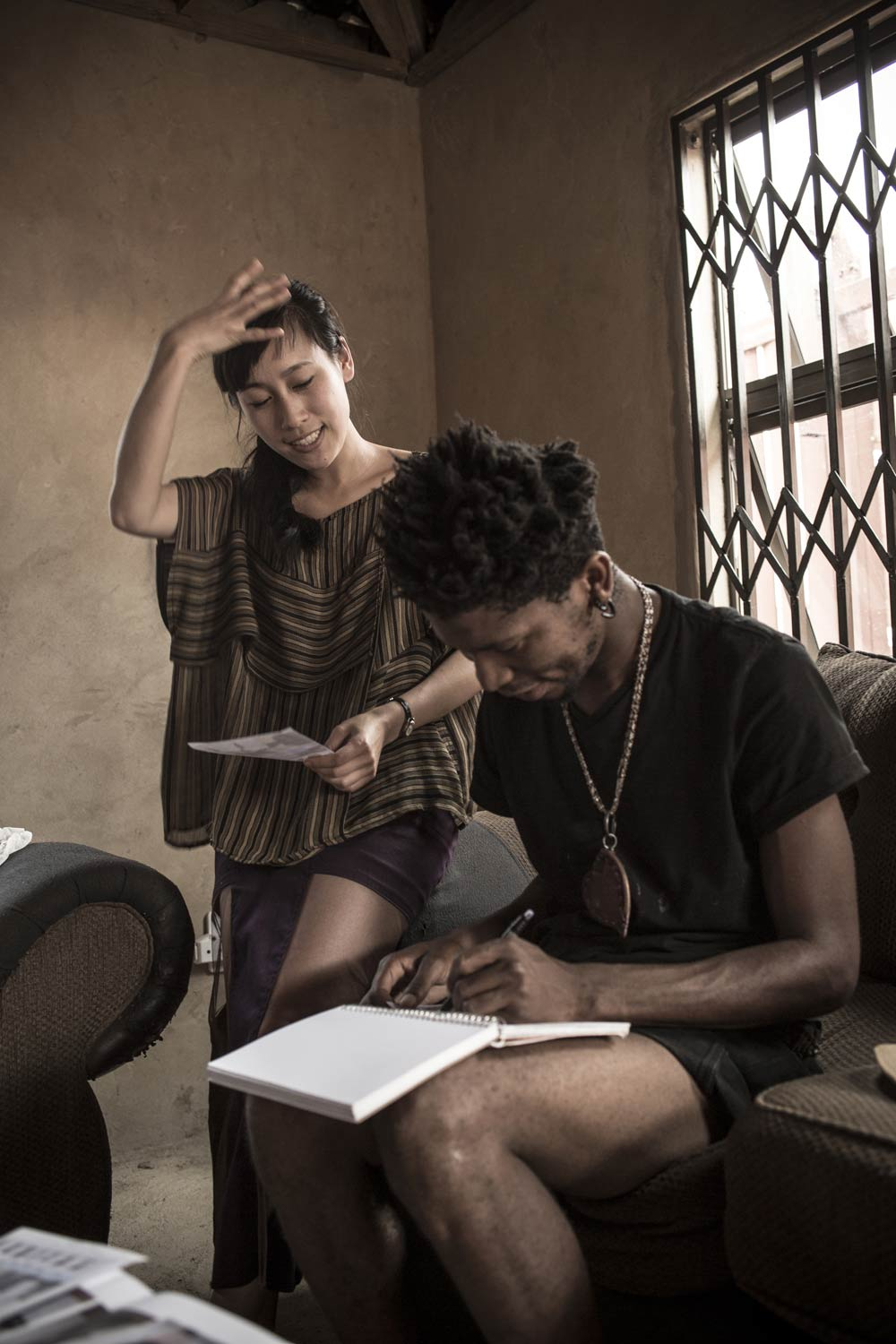 Floyd and Jenny discussing design ideas for the collaboration, February 2014. Photo | Chris Saunders.