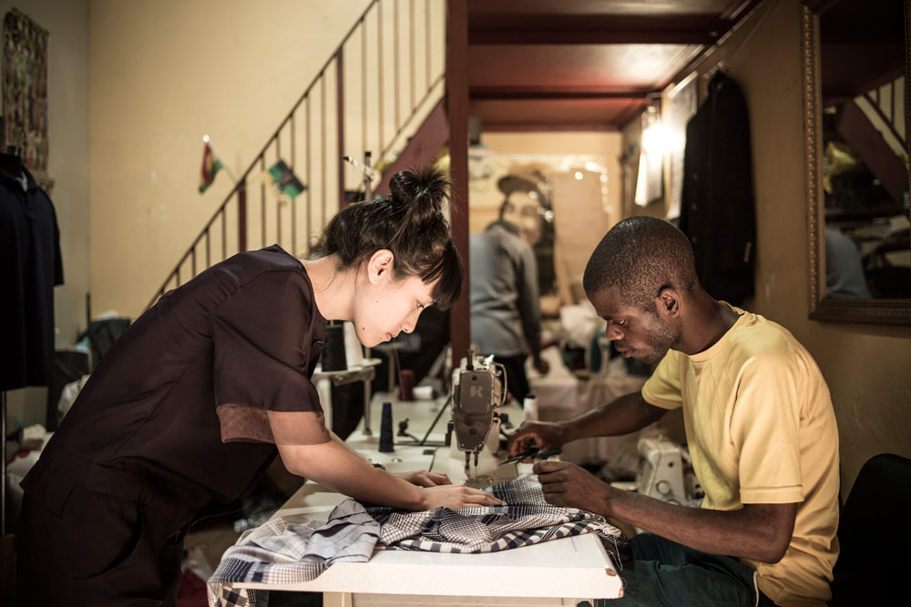 Local Johannesburg tailor sewing pleats on the Dr.Pachanga collaboration. Photo by Chris Saunders.
