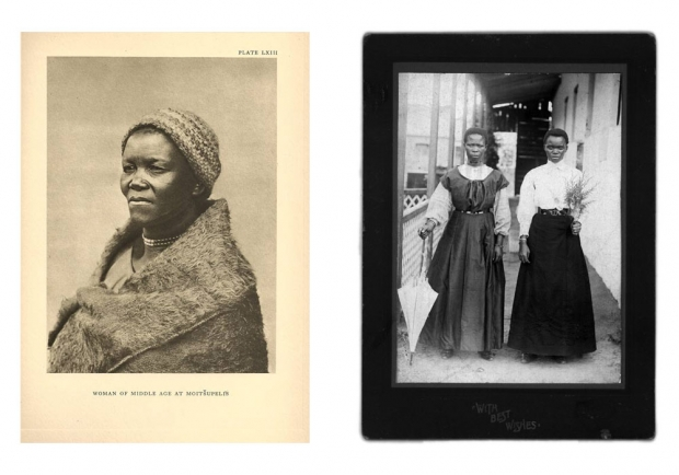 "L | A.M. DugganL | A.M. Duggan-Cronin, Woman of Middle Age at Moitšupeli's, South Africa, early twentieth century. R | Santu Mofokeng, ""The Black Photo Album / Look at Me: 1890-1950,"" 1997. Courtesy of the Walther Collection.-Cronin, Woman of Middle Age at Moitšupeli's, South Africa, early twentieth century. R 