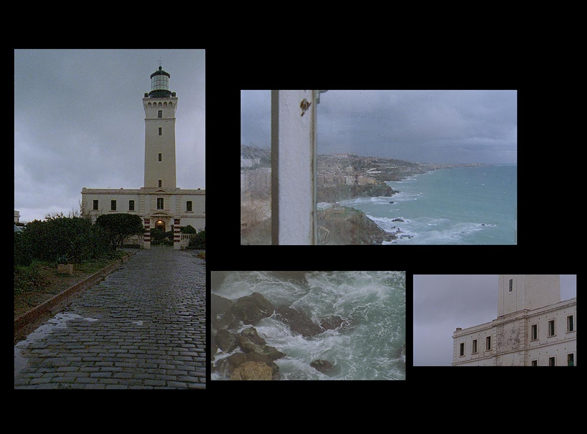 "Zineb Sedira, Lighthouse in the Sea of Time, 2011. Stills. Video installation (colour, sound). Six screens (Part I, Part II, Part III). HD and Super 16 mm. 16:9 format. Part I: installation of four video projections; 16 min 53 s. Part II: ""The Light of a Lighthouse Keeper"": single video projection; 11 min 11 s. Part III: single video projection; 12 min 32 s. ""La Montée…"". ""Names Through Time: Keeper's Logbook and Handwritting Through Time: A Visitor's Book"". ""A Museum of Traces"". Commissioned by the Triennale de Folkestone © Zineb Sedira / DACS, London. Courtesy the artist and kamel mennour, Paris"