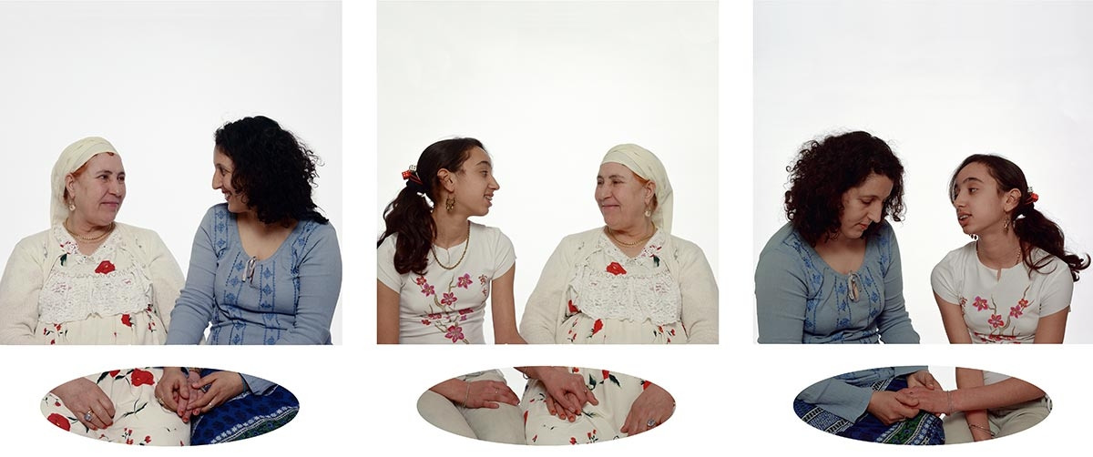 Zineb Sedira, Mother, Daughter and I, 2003. Triptych I. C-print mounted on aluminium. Portraits: 120 cm x 210 cm each. Hands (in oval format): 26 cm x 90 cm each. Commissioned by the Contemporary Art museum Saint-Louis, Missouri. Collections: Deutsche Bank Collection; Art in Embassies - U.S. Department of State © Zineb Sedira / DACS, London. Courtesy the artist and kamel mennour, Paris