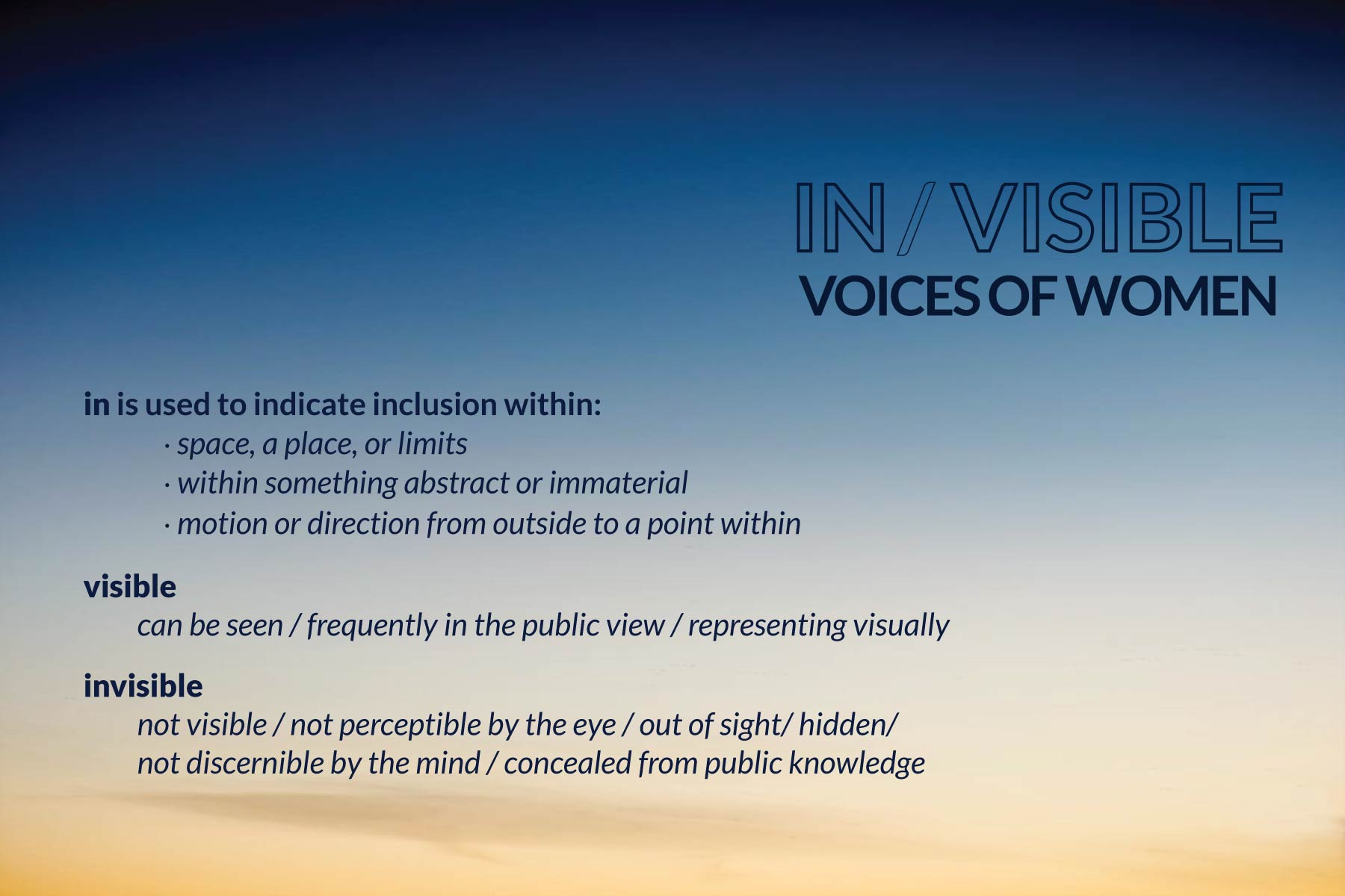 In/Visible Voices of Women